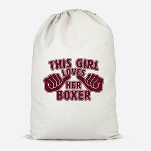 This Girl Loves Her Boxer Cotton Storage Bag