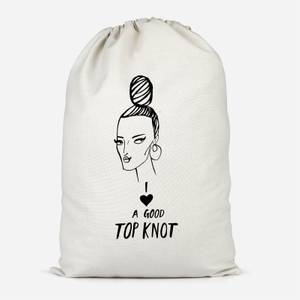 I Love A Good Top Knot Cotton Storage Bag