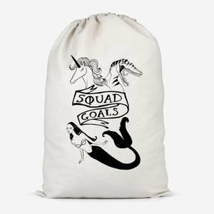 Mermaid, Unicorn And Dinosaur Squad Goals Cotton Storage Bag