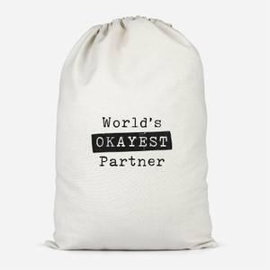 World's Okayest Partner Cotton Storage Bag