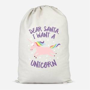 Dear Santa, I Want A Unicorn Cotton Storage Bag