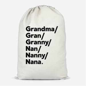 Gran's And Nan's Cotton Storage Bag