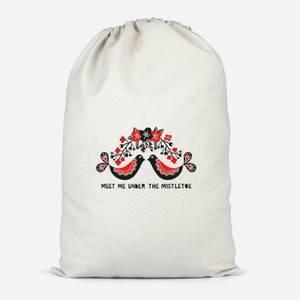Meet Me Underneath The Mistletoe Cotton Storage Bag