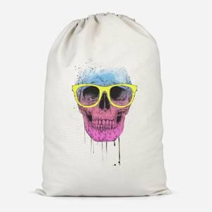 Skull And Glasses Cotton Storage Bag
