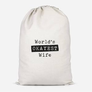 World's Okayest Wife Cotton Storage Bag