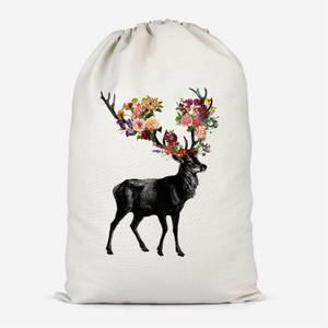 Spring Itself Deer Floral Cotton Storage Bag