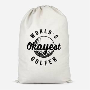 World's Okayest Golfer Cotton Storage Bag