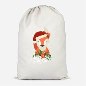 Christmas Fox Hello Christmas Cotton Storage Bag