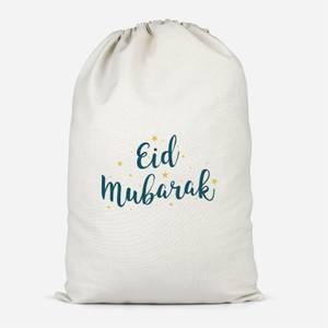 Eid Mubarak Script Yellow Stars Cotton Storage Bag