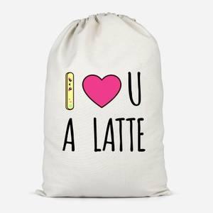 I Love U A Latte Cotton Storage Bag