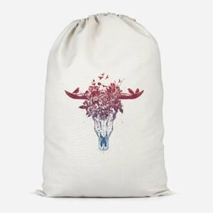 Skulls And Flowers Cotton Storage Bag