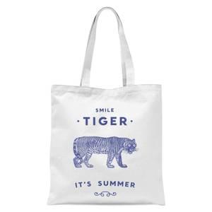 Smile Tiger Tote Bag - White