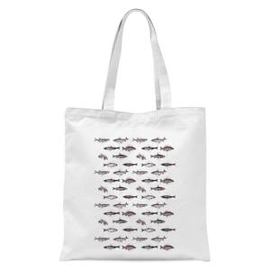 Fish In Geometric Pattern Tote Bag - White