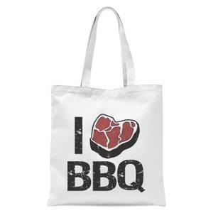 I Love BBQ Tote Bag - White