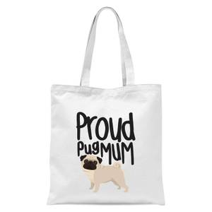 Proud Pug Mum Tote Bag - White