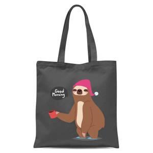 Sloth Good Morning Tote Bag - Grey