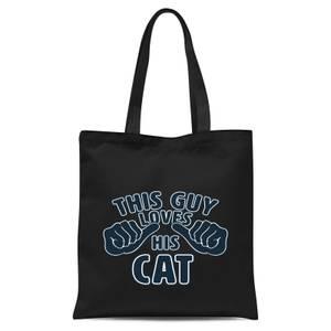 This Guy Loves His Cat Tote Bag - Black