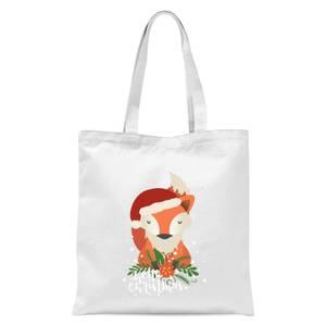 Christmas Fox Hello Christmas Tote Bag - White