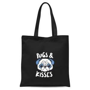 Pugs & Kisses Tote Bag - Black