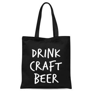 Drink Craft Beer Tote Bag - Black