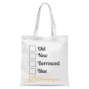 Champagne Tick Box Tote Bag - White