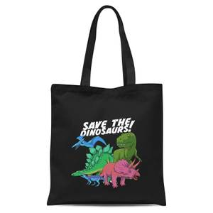 Save The Dinosaurs Tote Bag - Black