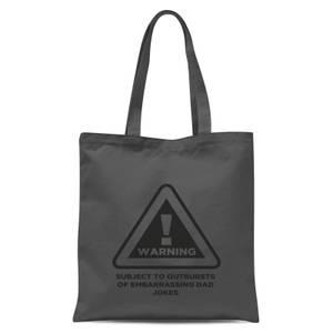 Warning Dad Jokes Tote Bag - Grey