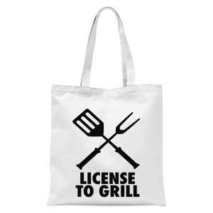 License To Grill Tote Bag - White