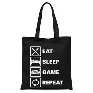 Eat Sleep Game Repeat Tote Bag - Black