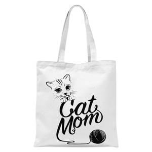 Cat Mom Tote Bag - White