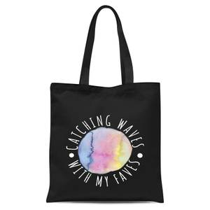 Catching Waves With My Faves Tote Bag - Black