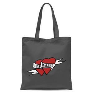 Just Married Tote Bag - Grey