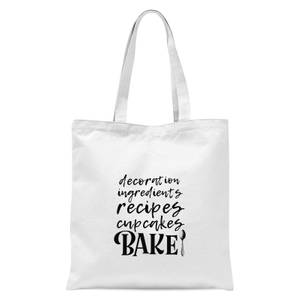 Baking Words Tote Bag - White