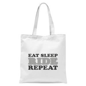 Eat Sleep Ride Repeat Tote Bag - White