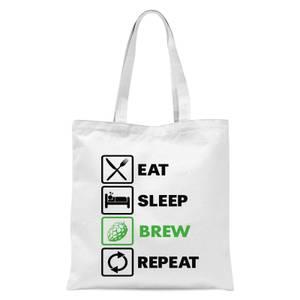 Eat Sleep Brew Repeat Tote Bag - White