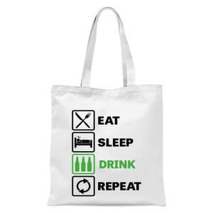 Eat Sleep Game Repeat Tote Bag - White