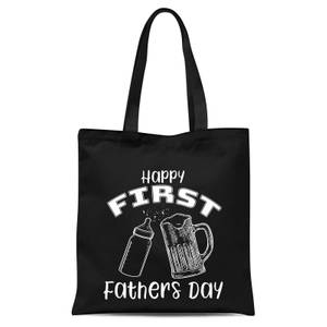 Happy First Fathers Day Tote Bag - Black