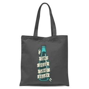 Sun Beer Sand Relax Tote Bag - Grey
