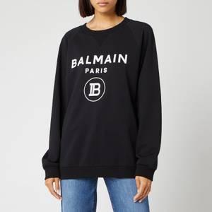 Balmain Women's Flocked Logo Sweatshirt - Black