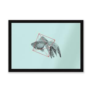 Fish In Geometry Entrance Mat