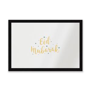Eid Mubarak Script Green Stars Entrance Mat
