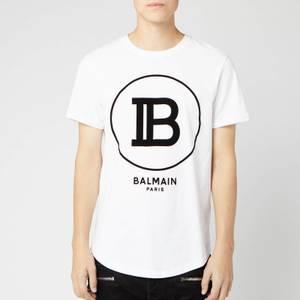 Balmain Men's T-Shirt with Large Coin Logo - Blanc