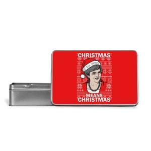 Christmas Means Christmas Metal Storage Tin