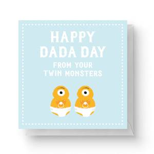 Happy Dada Day Fro Your Twin Monsters Square Greetings Card (14.8cm x 14.8cm)