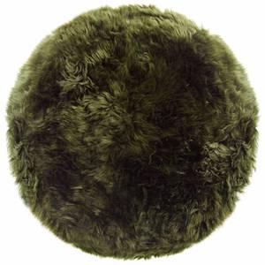 Royal Dream 100% Round Sheepskin Rug - Olive