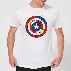 T-Shirt Marvel Captain America Stained Glass Shield - Bianco - Uomo