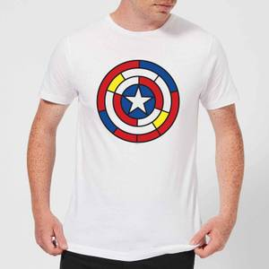 Marvel Captain America Stained Glass Shield Men's T-Shirt - White