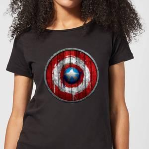 Marvel Captain America Wooden Shield Women's T-Shirt - Black
