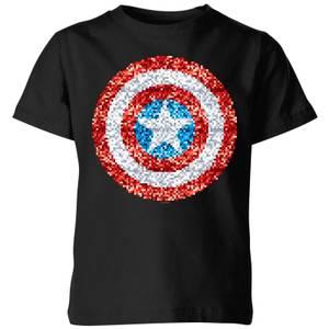 Marvel Captain America Pixelated Shield Kids' T-Shirt - Black