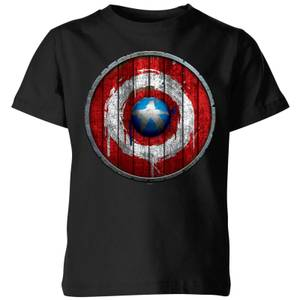 Marvel Captain America Wooden Shield Kids' T-Shirt - Black